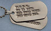 debossed white gold dog tags